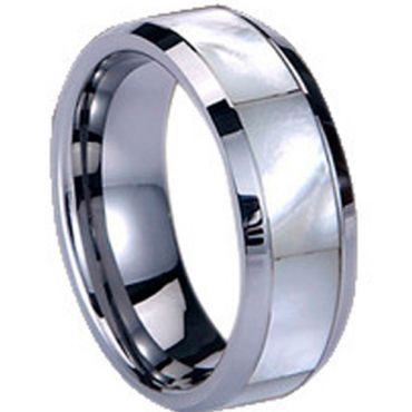 (Wholesale)Tungsten Carbide Abalone Shell Ring-1711