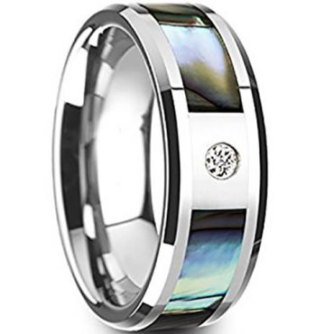 (Wholesale)Tungsten Carbide Abalone Shell & CZ Ring-1746AA