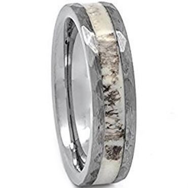 (Wholesale)Tungsten Carbide Deer Antler Hammered Ring - TG1751AA