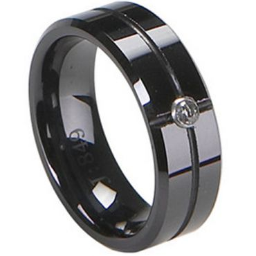 (Wholesale)Black Tungsten Carbide Ring - TG1754