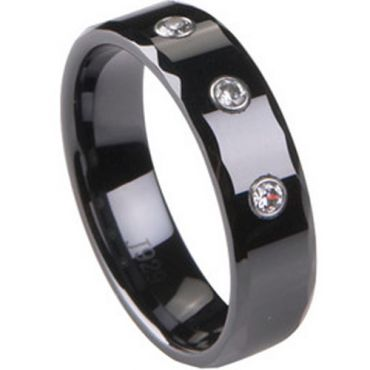 (Wholesale)Black Tungsten Carbide Faceted Ring - TG1767