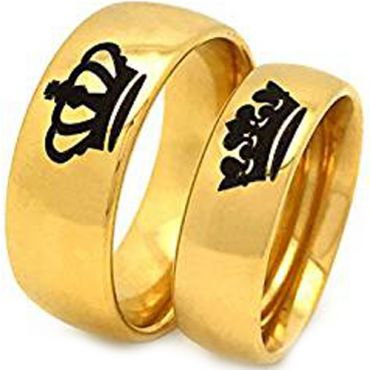 (Wholesale)Tungsten Carbide Dome King Queen Crown Ring - TG1797A