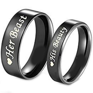 (Wholesale)Black Tungsten Carbide Beauty Beast Ring-TG1814