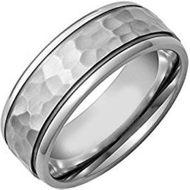 (Wholesale)Tungsten Carbide Hammered Ring - TG1822AA
