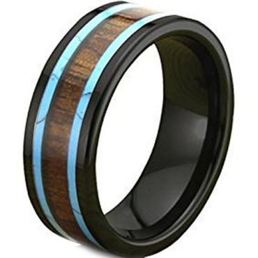(Wholesale)Tungsten Carbide Imitate Turquoise & Wood Ring-TG1823AA