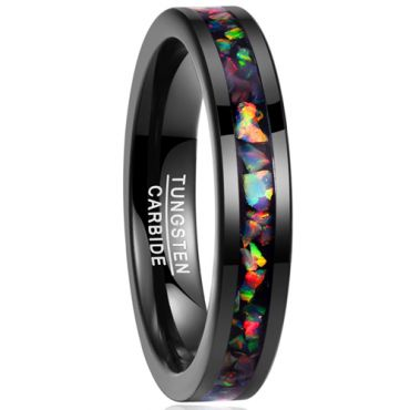 (Wholesale)Black Tungsten Carbide Imitate Opal Ring - TG1823BB