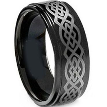 (Wholesale)Black Tungsten Carbide Celtic Ring - TG1830