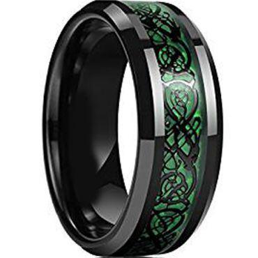 (Wholesale)Black Tungsten Carbide Dragon Ring - TG1841
