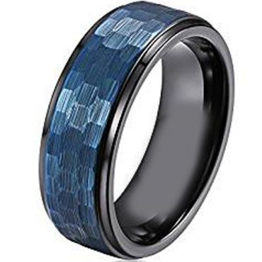 (Wholesale)Tungsten Carbide Black Blue Hammered Ring - TG1842AA