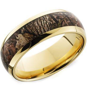 (Wholesale)Tungsten Carbide Camo Beveled Edges Ring - TG1879