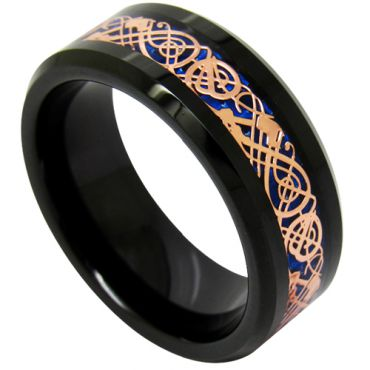 (Wholesale)Black Tungsten Carbide Dragon Ring-TG1896