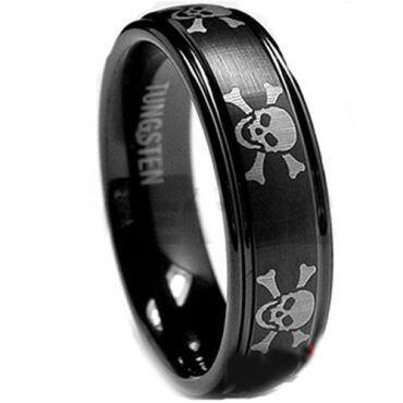 (Wholesale)Black Tungsten Carbide Skull Ring - TG1944