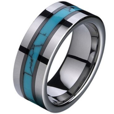 (Wholesale)Tungsten Carbide Imitate Turquoise Resin Ring-194A