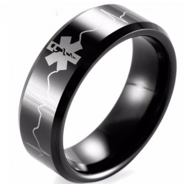 (Wholesale)Black Tungsten Carbide Medic Alert Heartbeat Ring-TG1