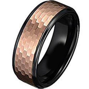 (Wholesale)Tungsten Carbide Black Rose Hammered Ring - TG1978AA