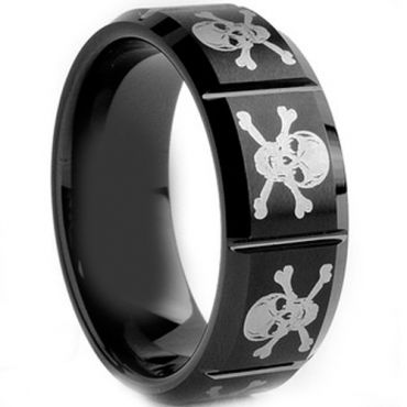 (Wholesale)Black Tungsten Carbide Skull Ring - TG1980A