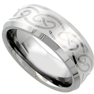 (Wholesale)Tungsten Carbide Celtic Beveled Edges Ring - TG1987