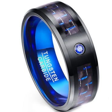 (Wholesale)Tungsten Carbide Black Blue Carbon Fiber Ring-1988
