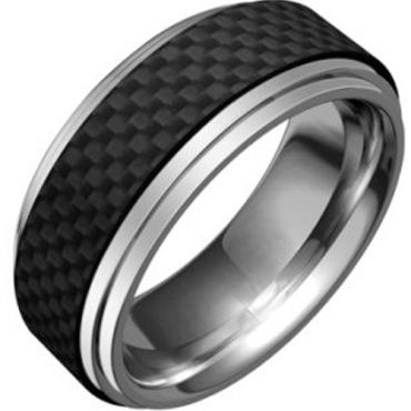 (Wholesale)Tungsten Carbide Ring With Carbon Fiber-TG1988