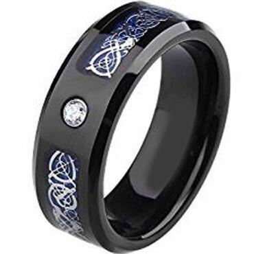 (Wholesale)Black Tungsten Carbide Dragon Ring - TG2025