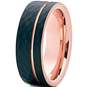 (Wholesale)Tungsten Carbide Black Rose Hammered Ring - TG2041AA