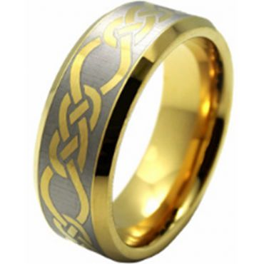 (Wholesale)Tungsten Carbide Celtic Beveled Edges Ring - TG206AA