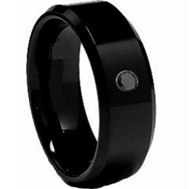 (Wholesale)Black Tungsten Carbide Ring With Cubic Zirconia-2062
