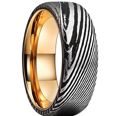 (Wholesale)Tungsten Carbide Black Rose Damascus Ring - TG2089