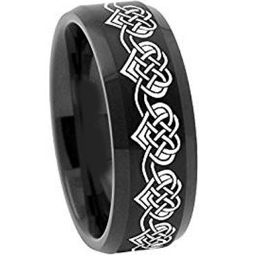 (Wholesale)Black Tungsten Carbide Heart Ring - 2108
