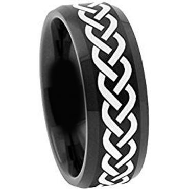 (Wholesale)Black Tungsten Carbide Celtic Ring - TG2116
