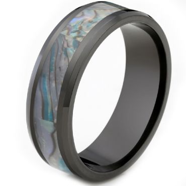 (Wholesale)Black Tungsten Carbide Abalone Shell Ring - TG2156