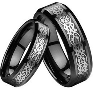 (Wholesale)Black Tungsten Carbide Celtic Inlays Ring-TG2189