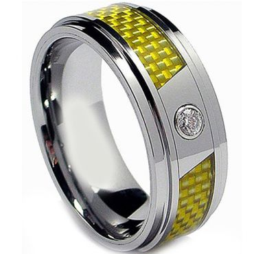 (Wholesale)Tungsten Carbide Ring With Carbon Fiber & CZ-2205