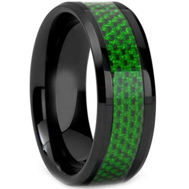 (Wholesale)Black Tungsten Carbide Carbon Fiber Ring-2212