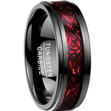 (Wholesale)Black Tungsten Carbide Dragon Ring - TG2214