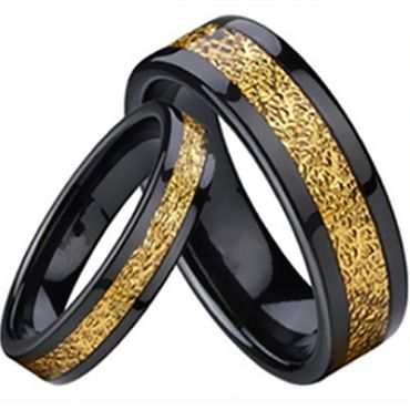 (Wholesale)Black Tungsten Carbide Ring With Carbon Fiber - TG2215
