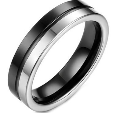 (Wholesale)Tungsten Carbide Center Groove Ring - TG2219A