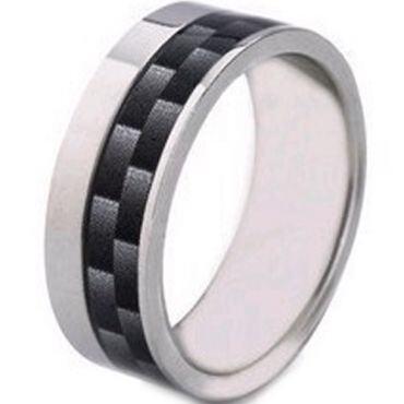 (Wholesale)Tungsten Carbide Offset Carbon Fiber Ring-2233