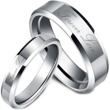 (Wholesale)Tungsten Carbide Beveled Edges Forever Love Ring-TG22