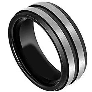 (Wholesale)Tungsten Carbide Center Groove Ring - TG2243