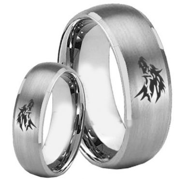 (Wholesale)Tungsten Carbide Beveled Edges Wolf Ring - TG2249