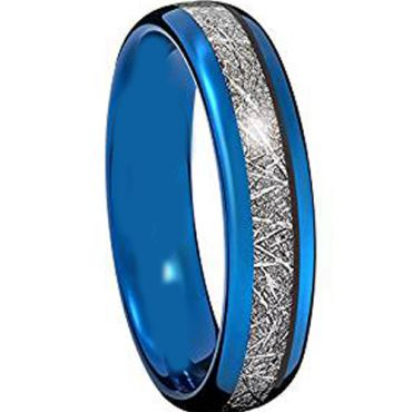 (Wholesale)Blue Tungsten Carbide Imitate Meteorite Ring - TG2272