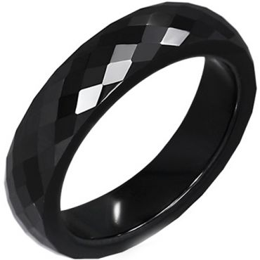 (Wholesale)Black Tungsten Carbide Faceted Ring - TG2281