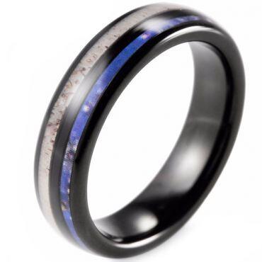 (Wholesale)Black Tungsten Carbide Deer Anter & Camo Ring-TG2283