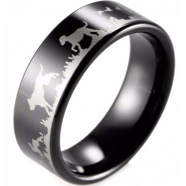 (Wholesale)Black Tungsten Carbide Outdoor Hunting Ring - TG2285