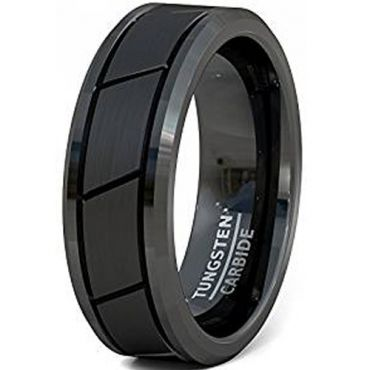 (Wholesale)Black Tungsten Carbide Diagonal Groove Ring-2285