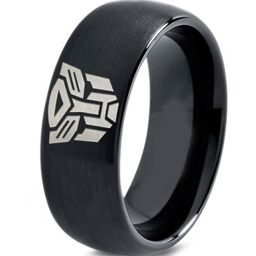 (Wholesale)Black Tungsten Carbide Transformer Ring - TG2286