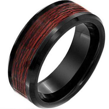 (Wholesale)Black Tungsten Carbide Wood Ring - TG2291