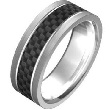(Wholesale)Tungsten Carbide Ring With Carbon Fiber-TG2306A