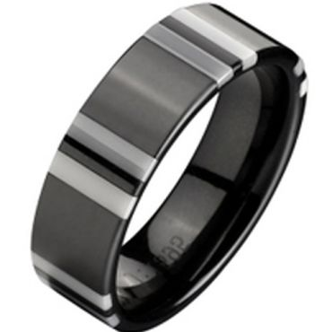 (Wholesale)Black White Ceramic Ring - TG2337